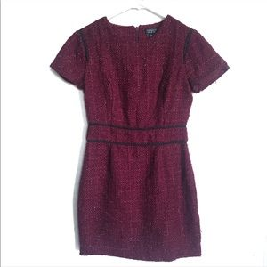 Topshop Maroon Textured Short Sleeve Dress